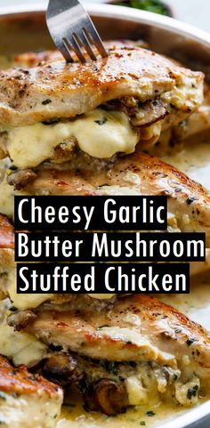 Cheesy Garlic Butter Mushroom Stuffed Chicken - use zanthum gum to thicken instead of cornstarch for Keto Macros Dieta, Garlic Butter Mushrooms, Recipe With Mushrooms, Comida Keto, Healthy Recipes, Keto Recipes, Easy Recipes, Steak Recipes, Shrimp Recipes