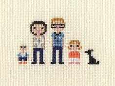 Family Custom Pixel Cross Stitch Portrait Framed por ScarletPyjamas