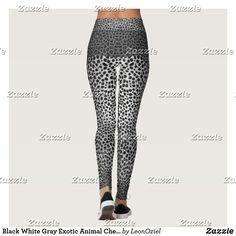 Shop Black White Gray Exotic Animal Cheetah Leopard Leggings created by LeonOziel. Leopard Leggings, Black Leggings, Exotic Pets, Leggings Fashion, Look Cool, Dressmaking, Cheetah, Things That Bounce, Custom Made