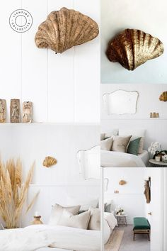 Eccentric luxury designer wall light, if you want the unique look this handmade Gold Shell Wall Light will not disappoint. The organic and textural qualities of this piece make for a piece that will enliven and compliment a range of interior settings.  #walllight #interiordesign #shelllighting #beachvibeinterior