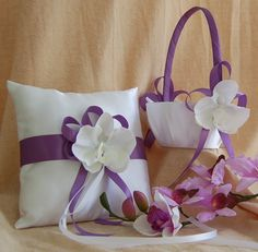 Wisteria wedding color, Flower Girl Basket and Ring Bearer Pillow Set