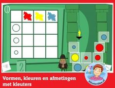 Vormen, kleuren en afmetingen met kleuters op digibord of computer, kleuteridee, Preschool shapes, colors and sizes for IBW or computer