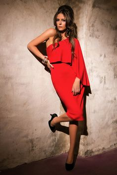 The red dress every woman should own: Get Satisfaction The Allure, Every Woman, Elegant Dresses, Lady In Red, Must Haves, Wrap Dress, One Shoulder, Lust, Attitude