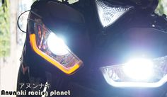 HID projector headlight for Yamaha R3, daytime running light can be placed up or down and works as turnsignals, comes with a toggle switch, 6000K:http://anunaki-parts.com/en/yamaha-r3-mt-03/38-hid-projector-yamaha-r3-mt-03.html