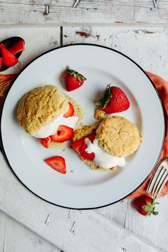 10-ingredient vegan, gluten-free shortcake topped with coconut whipped cream and strawberries! The perfect special diet-friendly dessert for summertime!