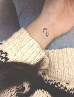 Small wrist tattoos. Sun and moon