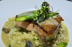 Haida Gwaii line-caught spring filet, wild mushrooms, asparagus truffle risotto. #salmon