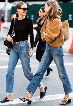 A novel idea: Jeans that are not too tight in the calf! Womens Co Ords, Blue Jeans, Mom Jeans, Pairs, Street Style, Denim, Clothes For Women, Trendy Outfits, Fashion