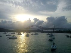 Sunset , Puente de las Americas at the entrance of the Panama Canal Pacific Side, tooked this on tuesday from the marina. Greetings from Panama