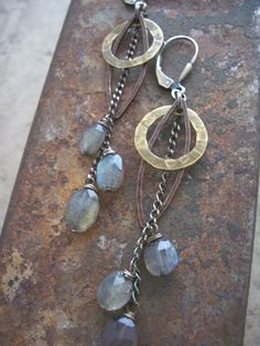 Mixed Metal and Labradorite Drop Earrings. by dnajewelrydesigns on Etsy https://www.etsy.com/listing/214213439/mixed-metal-and-labradorite-drop
