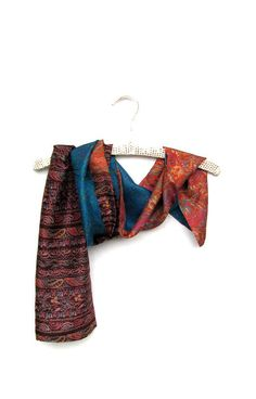 Silk sari scarf turquoise orange brown floral India by Patchtique, $20.00