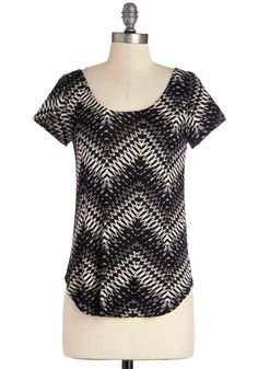 Lithography Class Top in Black Chevron. To feel comfortable and focused during your first-ever lithography class, you choose this chevron-striped top. #black #modcloth