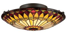 Elstead Quoizel 'West End' 2 Light Flush Tiffany Ceiling Light, Vintage Bronze - QZ/WEST END/F None