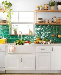"This California Cottage Will Make You Fall in Love With ""Jungalow"" Style Moroccan clay tiles from Badia Design cover the kitchen backsplash, and the wall is painted in Glidden's Silver Maple. Boho Kitchen, New Kitchen, Kitchen White, Kitchen Paint, Moroccan Kitchen Tiles, Eclectic Kitchen, Kitchen Small, Green Kitchen, Kitchen Floor"