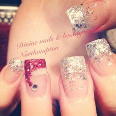 Sparkly tips and Santa hat nails! Nail Design, Nail Art, Nail Salon, Irvine, Newport Beach