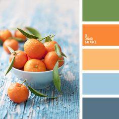 color de mandarinas, colores naranja y celeste, colores vivos, combinación de colores celeste y naranja, selección de colores, tonos celestes y anaranjados, tonos naranjas.
