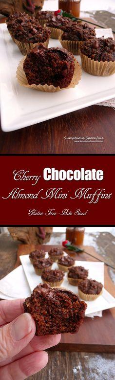 Cherry Chocolate Almond Mini-Muffins~Sumptuous Spoonfuls #glutenfree #hearthealthy #breakfast #recipe