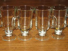 Vintage Set 4 Clear Glass Irish Coffee Mugs Pedestal Footed Coffee Cups