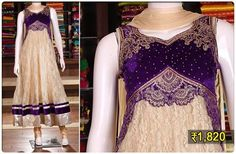 Dress In Style! Luscious anarkali in butter cream colour with violet bodice that has rich resham embroidery