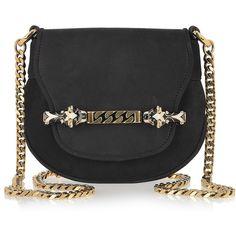 Gucci Tigrette embellished nubuck shoulder bag ❤ liked on Polyvore