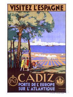 Cadiz - Visitez l'Espagne Vintage Poster (artist: de Castro) Spain c. Vintage Travel Posters, Vintage Ads, Vintage Advertisements, Granada, Cadiz Spain, Rota Spain, Poster Prints, Art Prints, Spain Travel