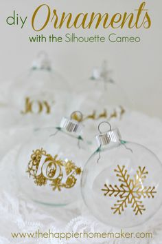 DIY Ornaments DIY Christmas Ornaments with the Silhouette Cameo Diy Christmas Ornaments, Christmas Projects, Holiday Crafts, Christmas Decorations, Glitter Ornaments, Handmade Christmas, Holiday Ideas, Christmas Ideas, Christmas Bulbs
