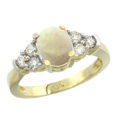 10k Yellow Gold Ladies Natural Opal Ring oval