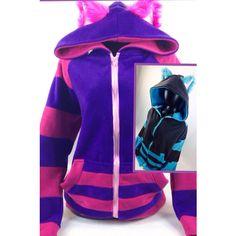 Pawstar Cheshire Cat Hoodie Kitty Kigurumi Fursuit Cat Pink Purple... ($112) ❤ liked on Polyvore