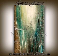 PAINTING Original Acrylic Abstract LARGE Modern Art by artgallerys, $499.00  -  greens, tan, cream, etsy.  good color combo.   lj