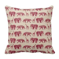 Buy Throw Pillow with Graphic Zoo designed by Sharon Turner. One of many amazing home décor accessories items available at Deny Designs. Red Throw Pillows, Decorative Throw Pillows, Bed Pillows, Cushions, Jungle Print, Inspired Homes, Home Decor Accessories, House Design, Elephant Zoo