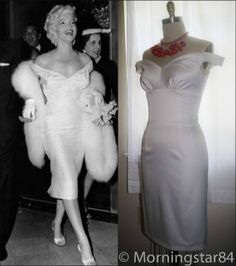 """Marilyn Monroe White Satin dress worn for the premiere of """"The Seven Year Itch"""" 1955"""