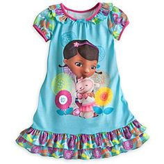 Disney Doc McStuffins Nightshirt for Girls - Blue | Disney StoreDoc McStuffins Nightshirt for Girls - Blue - She'll be asleep in two shakes of Lambie's tail after she climbs into bed wearing this comfy nightshirt for girls. The puffed sleeves and ruffled hem make it a stylish bedtime statement.