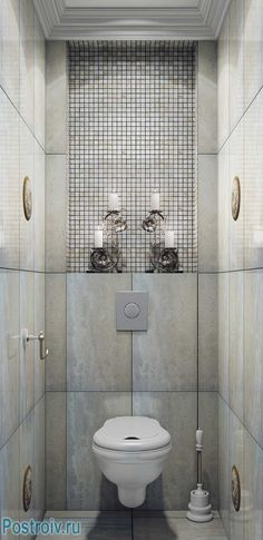 Дизайн маленького туалета 2, 3 кв. м. в современной классике. Подвесной унитаз