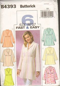 Butterick B4393 Six Fast and Easy Tops or Blouses by RomanceWriter