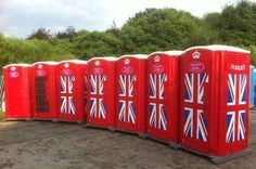 Patriotic Portaloos! very creative! #UnionJack #GreatBritain