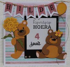 Gemaakt door Joke # kinderkaart met beertjes, Hilde 4 jaar Baby Cards, Kids Cards, Marianne Design Cards, Love Cards, Creative Cards, Panda Bear, Paper Piecing, Craft Stores, Baby Shower Gifts