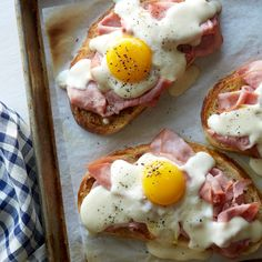 A recipe for Croque Madame toast. Toasted bread smeared with mustard and topped with thinly sliced ham, a creamy mornay sauce and a runny egg! Breakfast Toast, Breakfast Time, Breakfast Sandwich Recipes, Mexican Breakfast, Breakfast Pizza, Breakfast Bowls, Egg In Toast, Breakfast Ideas With Eggs, Healthy Egg Breakfast