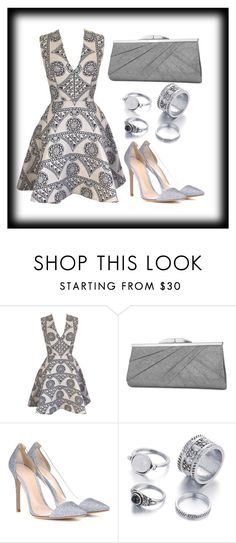 """""""Silver mode 💎"""" by ftowm ❤ liked on Polyvore featuring Joana Almagro, Jessica McClintock and Gianvito Rossi"""
