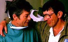 "DeForest Kelley and Leonard Nimoy - making ""Star Trek IV: The Voyage Home"" (1986)"