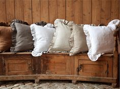 Shabby chic Pre washed 100% Natural Linen Large European square  pillow case cover shams ruffled 4 color 5 sizes by LinenLegend on Etsy https://www.etsy.com/listing/210908180/shabby-chic-pre-washed-100-natural-linen