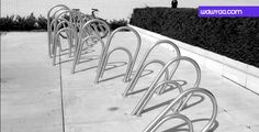A stationary bike rack seen on campus at the Minneapolis Art Institute.