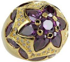 CZ By Kenneth Jay Lane - CZ Byzantine Dome Ring (Amethyst/Gold) - Jewelry on shopstyle.com
