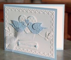 Bluebirds Wedding Congratulations Card, Stampin Up Teeny Tiny Wishes