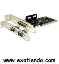 Ya disponible Control. Approx 2 ptos serial+ 1 paralelo    (por sólo 17.99 € IVA incluído):   -Tarjeta PCI con 1 puerto Paralelo + 2 puertos Serie.  -Tasa de transferencia en Serie: hasta 115200bps -Tasa de transferencia en Paralelo: hasta 1,5MB/s -Selecciona direcciones IRQ y I/O automáticamente -Bus: PCI 2.1 32bit, 33MHz -Con asignación automática de IRQ y direcciones I/O -Soporta la compartición de IRQ PCI -Conexión: PCI  -P/N: APPPCI1P2SV2 Garantía de 24 meses.