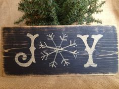 Primitive Country Joy Snowflake Holiday Christmas 3.5x8 Wood Sign Shelf Sitter #CountrySign #Joy