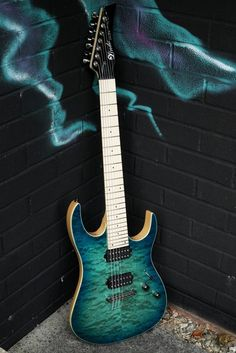 Lindo LDG-7X Seven-String Electric Guitar with Quilted Maple Veneer - Semi-transparent Turquoise Burst: Amazon.co.uk: Musical Instruments