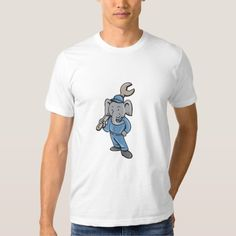 Elephant Mechanic Spanner Standing Cartoon Shirt. Illustration of an elephant mechanic standing holding spanner on shoulder with one hand on hips viewed from front set on isolated white background done in cartoon style. #Illustration #ElephantMechanicSpanner