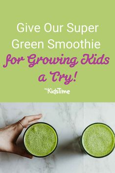 Give Our Super Green Smoothie for Growing Kids a Try! Super Green Smoothie, Best Green Smoothie, Green Smoothie Recipes, Frozen Pineapple, Frozen Fruit, Frozen Banana, Super Greens, Plant Protein, Family Meals