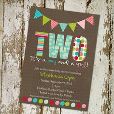 twins baby shower invitations for twins, with banner and polka dots (item 156b) on Etsy, $13.00