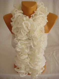 Hand knitted White ruffled scarf by Arzus on Etsy $18.89